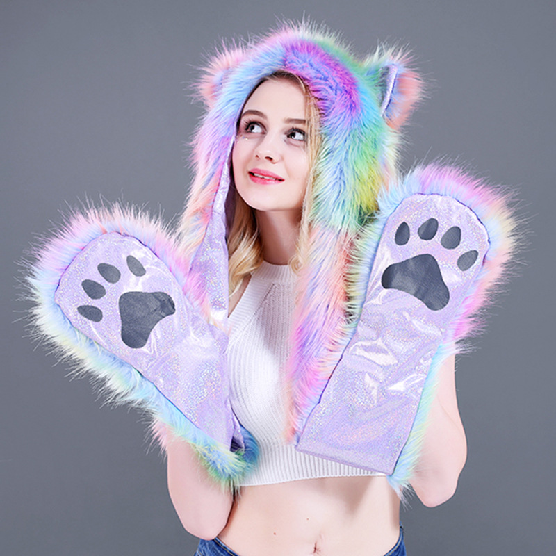 Winter Rainbow S-shaped Fur-like Animal Hat Dance Hat Scarf And Gloves In One