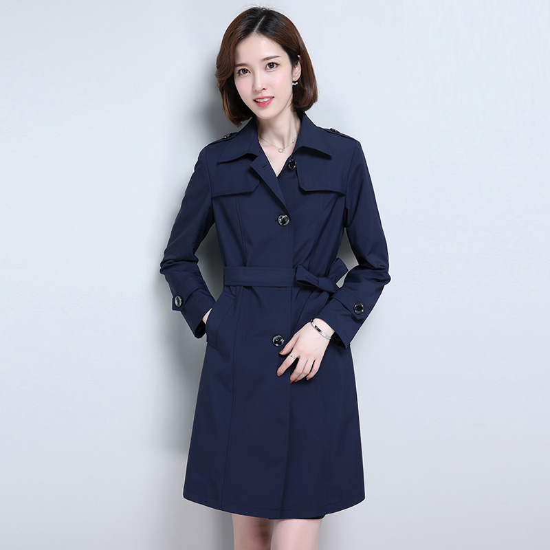 2019 Autumn New Casual   Trench   Coats Vintage Large size L-5XL Loose   Trench   Solid color Long sleeve Coats Women's clothing