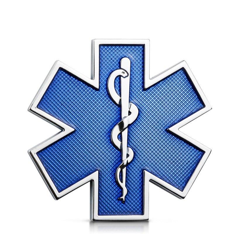 Car Modified Metal Sticker Star Of Life Logo Blue Emergency Ambulance Logo Badge Car Side Fender Trunk Decoration Accessories