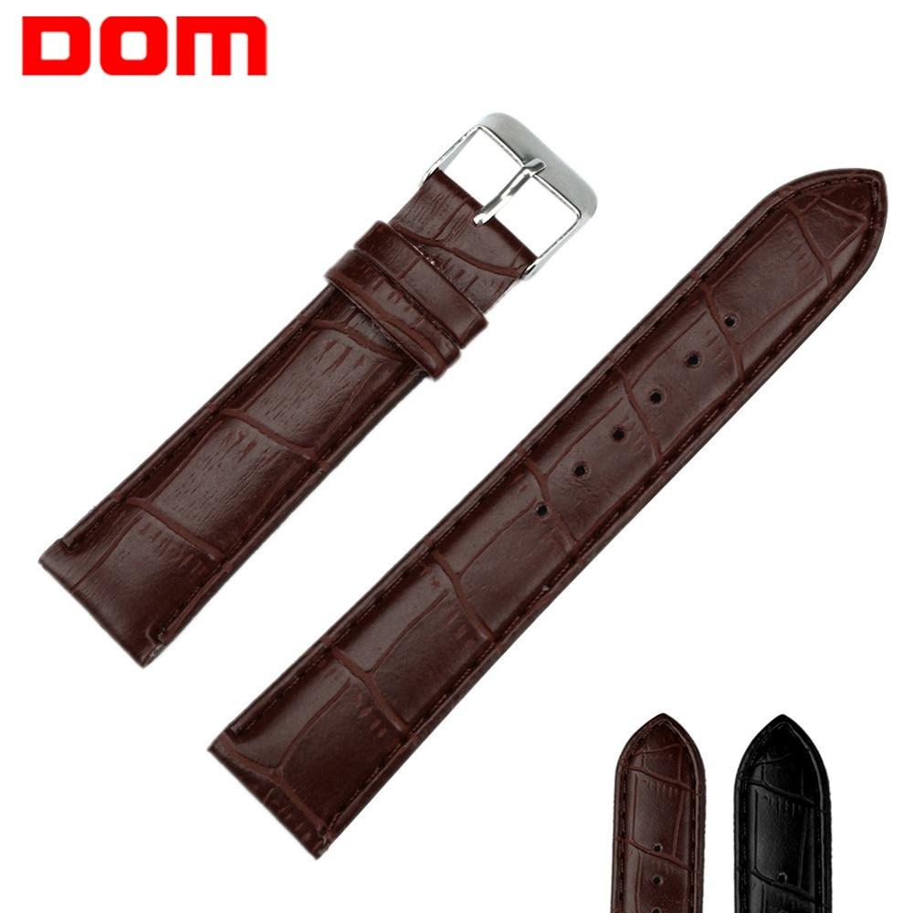 DOM Watch Bracelet Belt Black Brown Watchbands Faux Leather Watch Strap Men Women 14mm 16mm18mm 20mm 22mm 24mm  Watch Strap