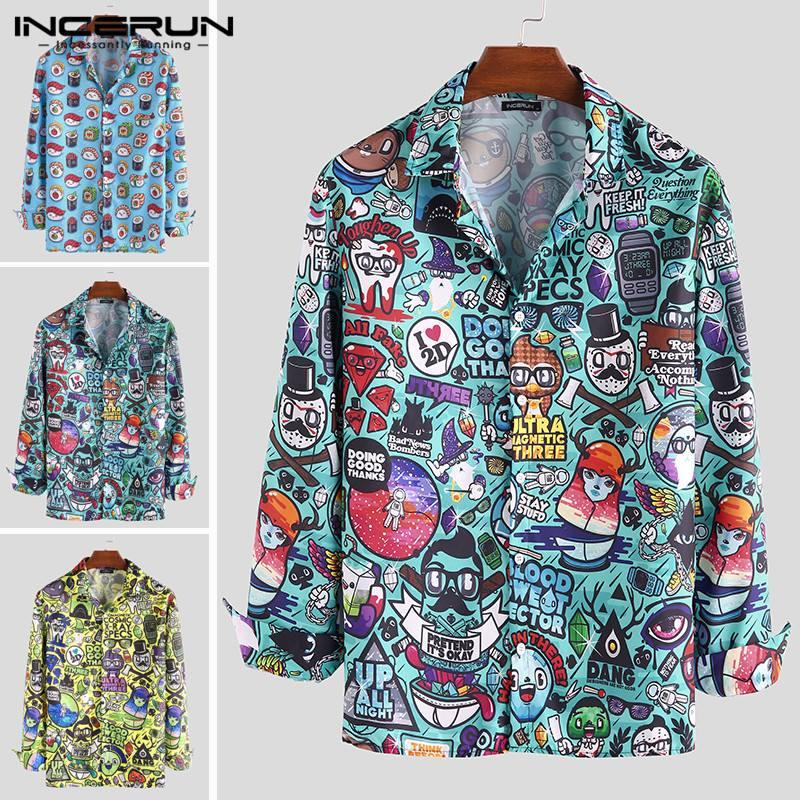 Autumn Cartoon Printed Men Shirts Lapel Fashion Chic Button Long Sleeve Casual Brand Blouse Funny Basic Shirts Men 2020 INCERUN