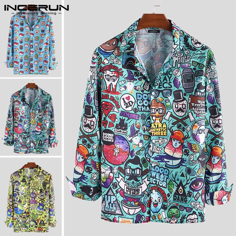 Autumn Cartoon Printed Men Shirts Lapel Fashion Chic Button Long Sleeve Casual Brand Blouse Funny Basic Shirts Men 2020 INCERUN