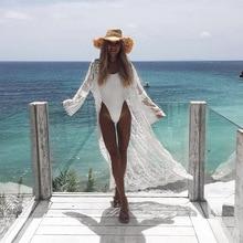 See Through Long Kimono Boho Lace Kimono Long Sleeve Summer Cardigan Verano 2019 Beach Cover Up lace up see through lace teddy