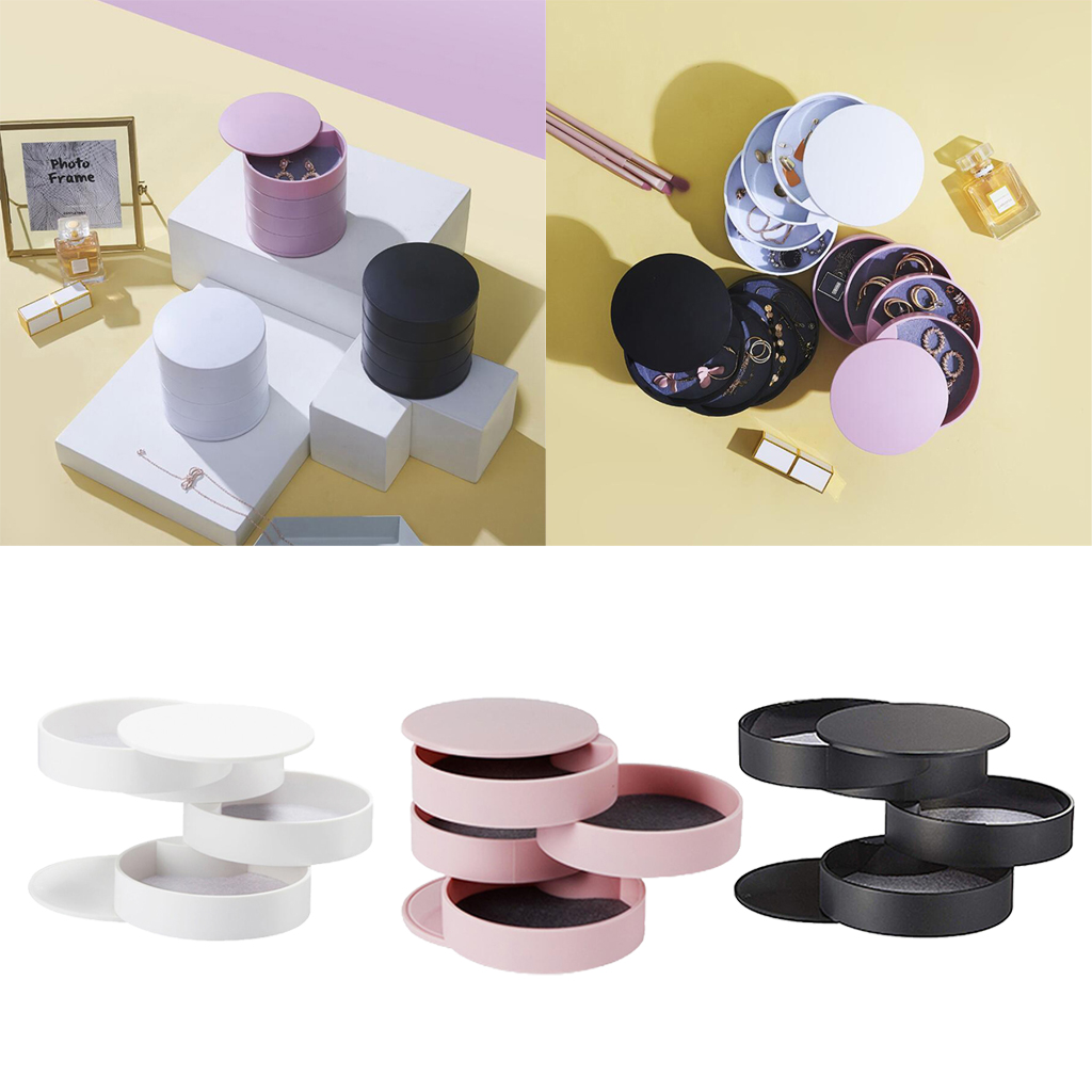 Multilayer 360° Rotating Jewellery Box Multifunction Earring Rings Storage Case