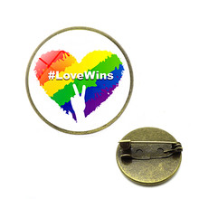 Rainbow LGBT Brooches Gay Lesbian Pride Pins Rainbow Flag Bi Pride Heart Glass Cabochon Jewelry Dropshipping Cc Brooch(China)