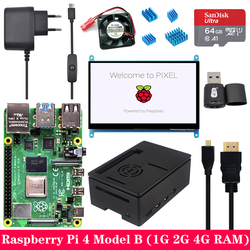 Raspberry Pi 4 Model B 1G 2G 4G RAM with 7 inch 1024*600 Touchscreen LCD Power Supply ABS Case SD Card for Raspberry Pi 4B Pi 4