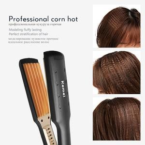Image 4 - Kemei Professional Hair Curler Electric Curling Iron Corn Perm Splint Flat Iron Wave Board Ceramic Digital Styling Tools KM 472