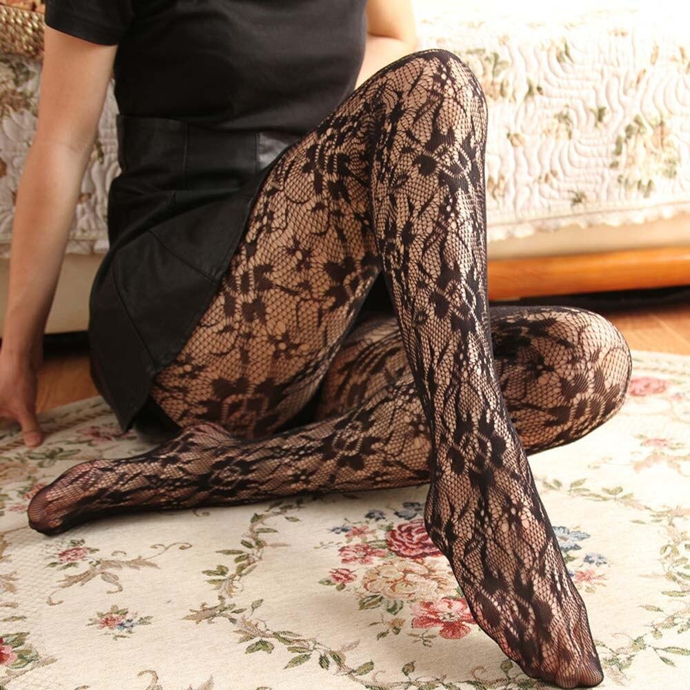 Fashion Women's Sexy Fishnet Pantyhose Black Lace Mesh Hollow Flower Tights Women Thin Nylons Net Stocking