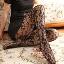Pantimedias de rejilla para mujer, medias de malla de encaje negro con flores huecas, medias finas de red Nylons
