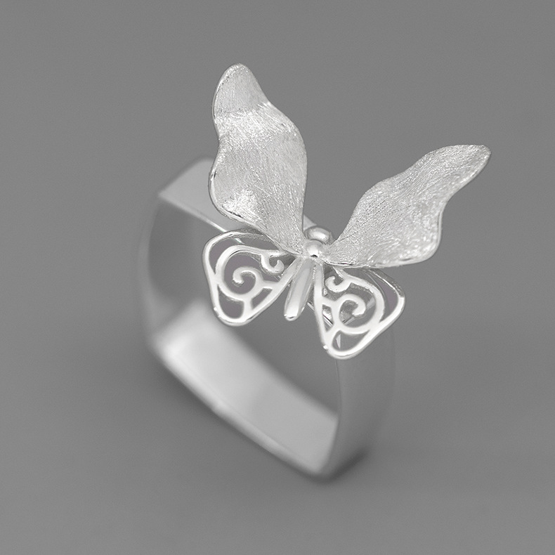 INATURE 925 Sterling Silver Luxury Butterfly Rings for Women Fashion Jewelry Finger Ring 5