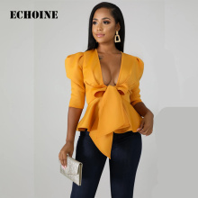 Echoine Sexy Elegant Long Sleeve Women Shirt Top V-neck Bandage Bow Tie Slim Office Ladies Shirt Blouse Ruffle Blusas Feminina foldover neck belted bow tie sleeve blouse