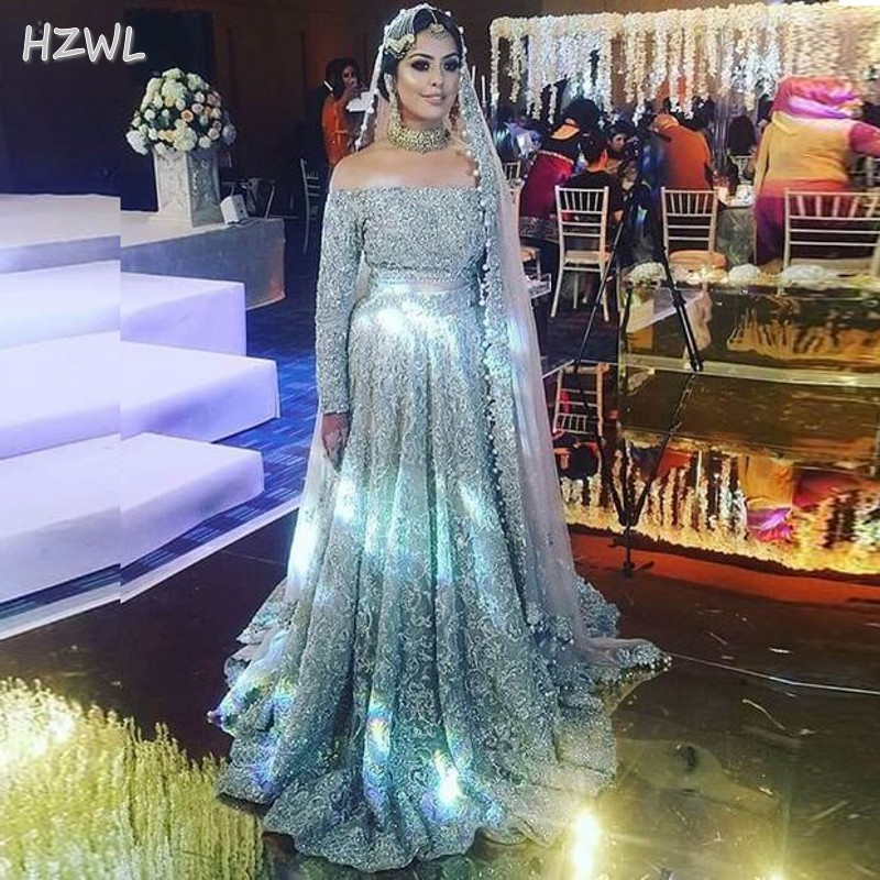 Amazing Dubai Wedding Dresses Sexy Off The Shoulder Long Sleeves A Line Bridal Gowns Saudi Arabia Lace Sequined Vestidos