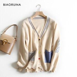 Image 3 - BIAORUINA 女性の韓国風の手紙ストライプジャカードカジュアルカーディガン女性シングルブレストファッションニットセーター