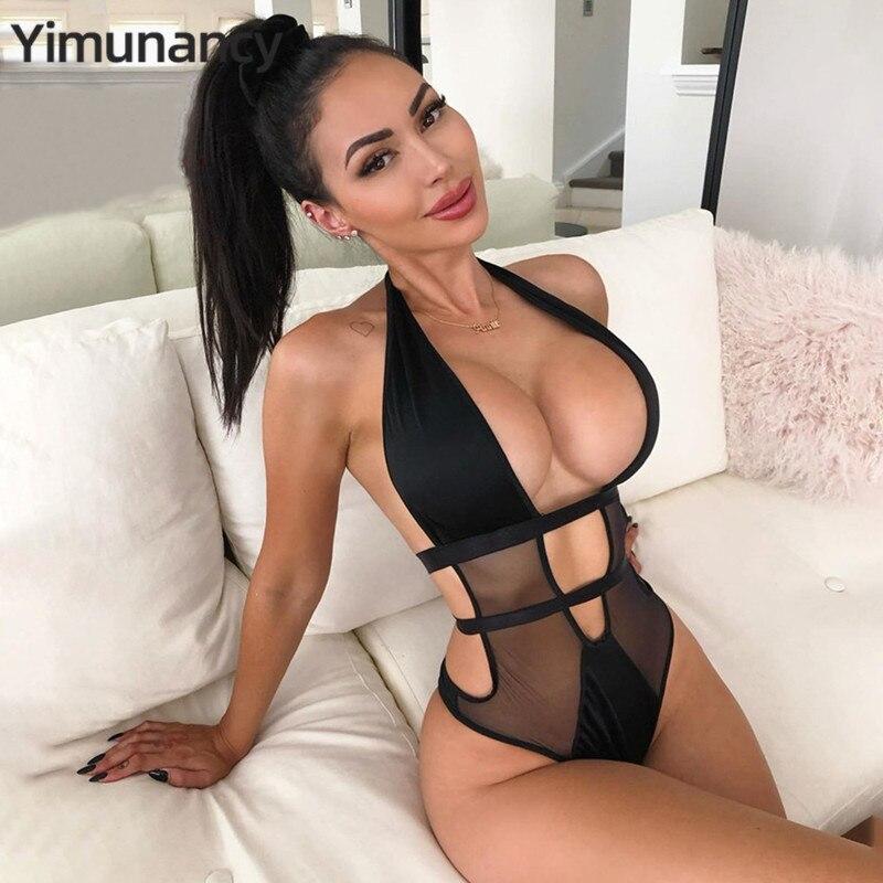 Yimunancy Cut Out Mesh Bodysuit Women Fashion Sexy Bodysuit 2020 Spring Patchwork Black Teddies Bodysuit Overalls Clubwear