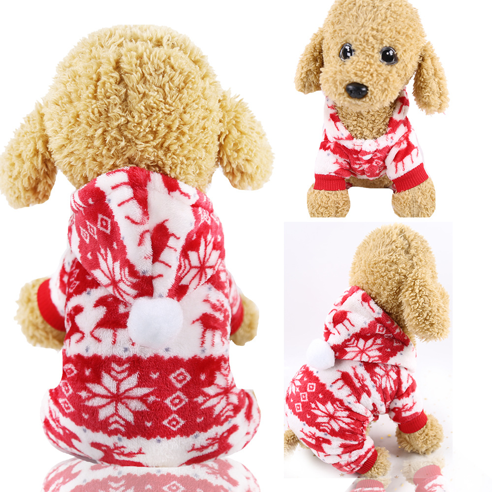 Dog Clothes Pajamas Jumpsuit Winter Pet Clothes Puppy Hoodies Fleece legs Warm Dog Clothing Outfit Small Dog Costume Apparel 7
