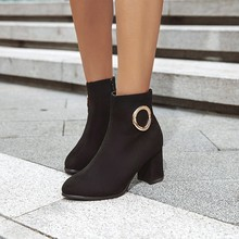 women ankle boots round toe high heels pumps warm shoes woman chaussure zapatos mujer office ladies WXZ194 стоимость