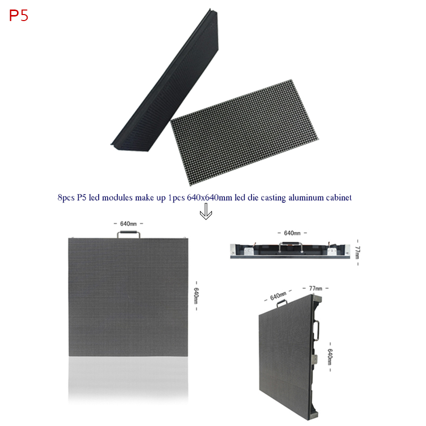 High Quality High Brightness Full Color Led Display Panel P5 SMD Led Module 320*160mm 64x32dots For Outdoor Advertising