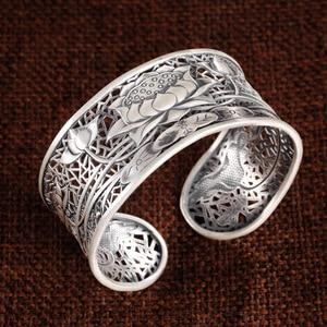 Image 4 - 999 Silver colour Flower Bangle New Fashion lotus Adjustable Size Original Sterling Silver colour Bangle for Women men bracelet