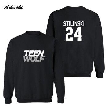 Autumn Winter Casual Sweatshirt Hoodies White Clothes Print New Arrivals Hip Hop Fashion Teen Wolf High Collar Guard Men Women