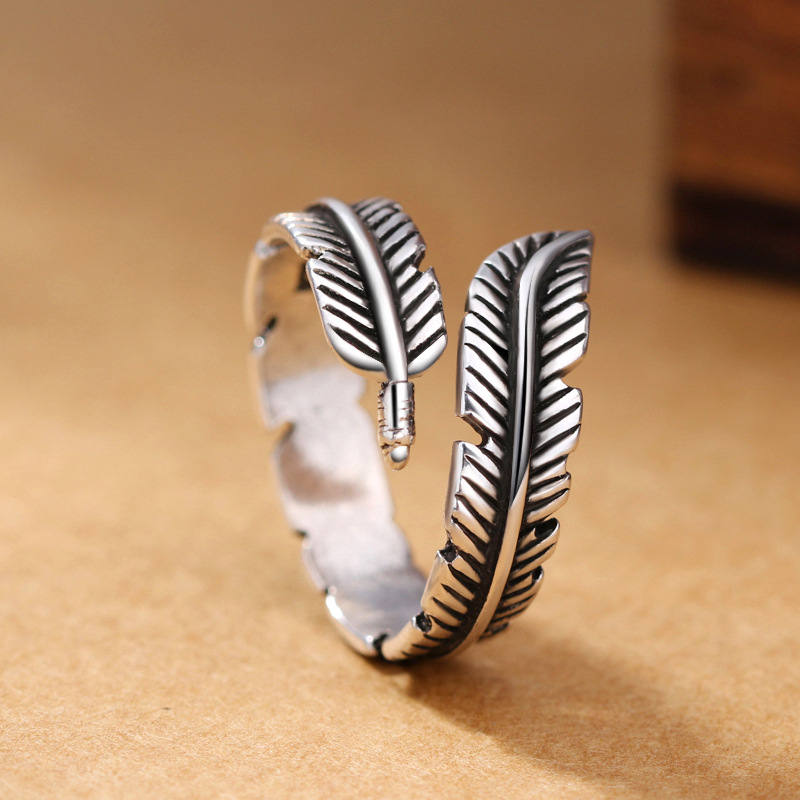 925 Sterling Silver Creative Retro Feather Opening Ring European And American Women Thai Silver Antique Jewelry