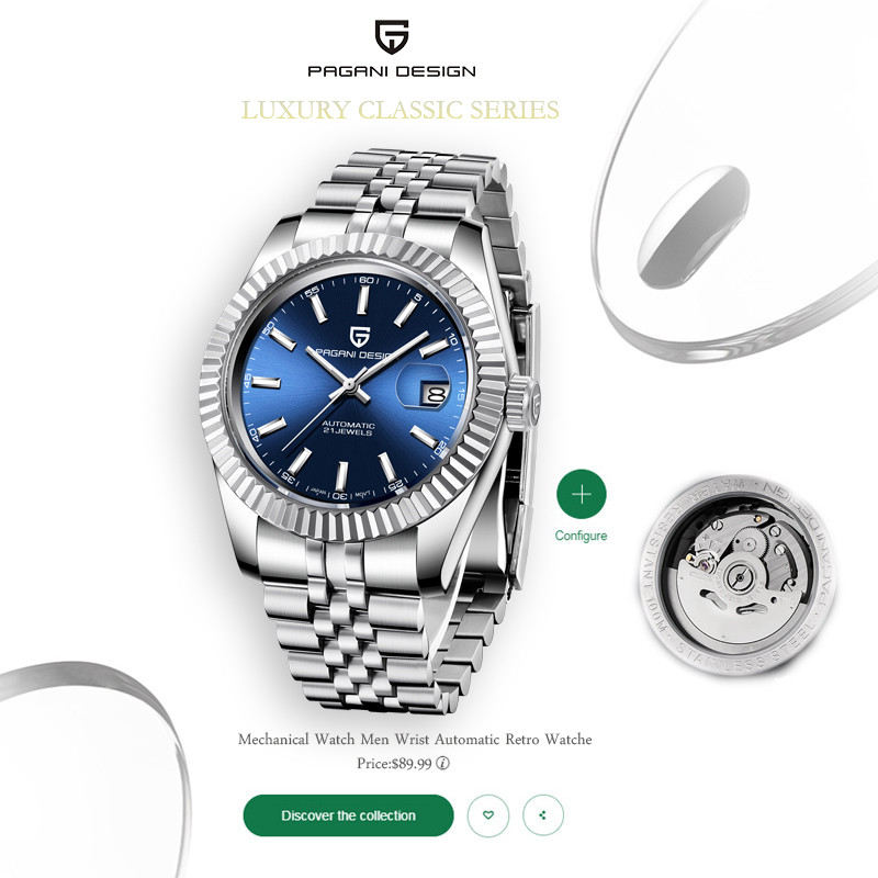 PAGANI Design 2020 New Mens Watches Top Brand Luxury Watch Men Automatic Mechanical Men Waterproof Wristwatch Relogio Masculino