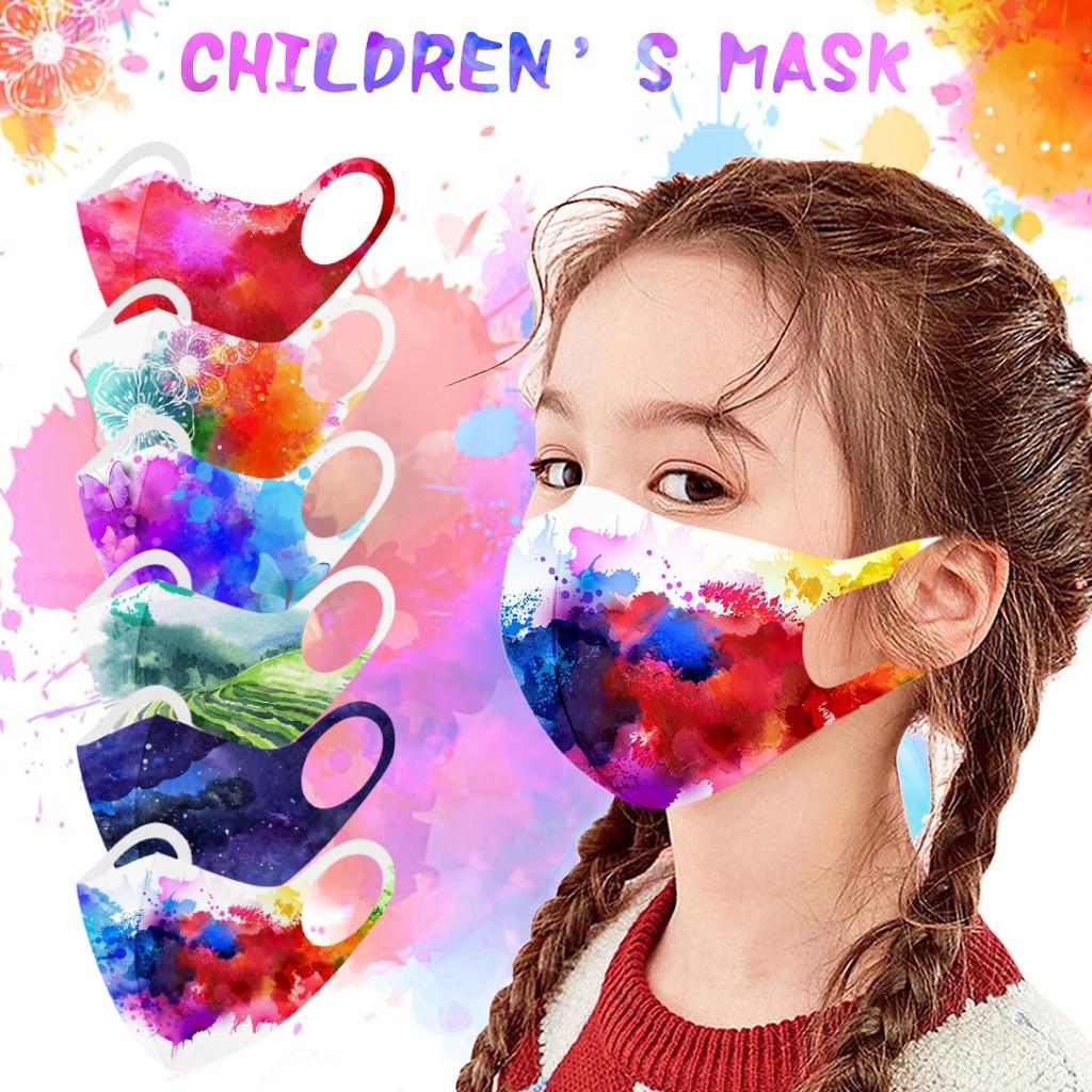 Детская маска Регулируемая ветрозащитная многоразовая дышащая маска для лица с принтом маска для рта защитная маска для рта детская маска