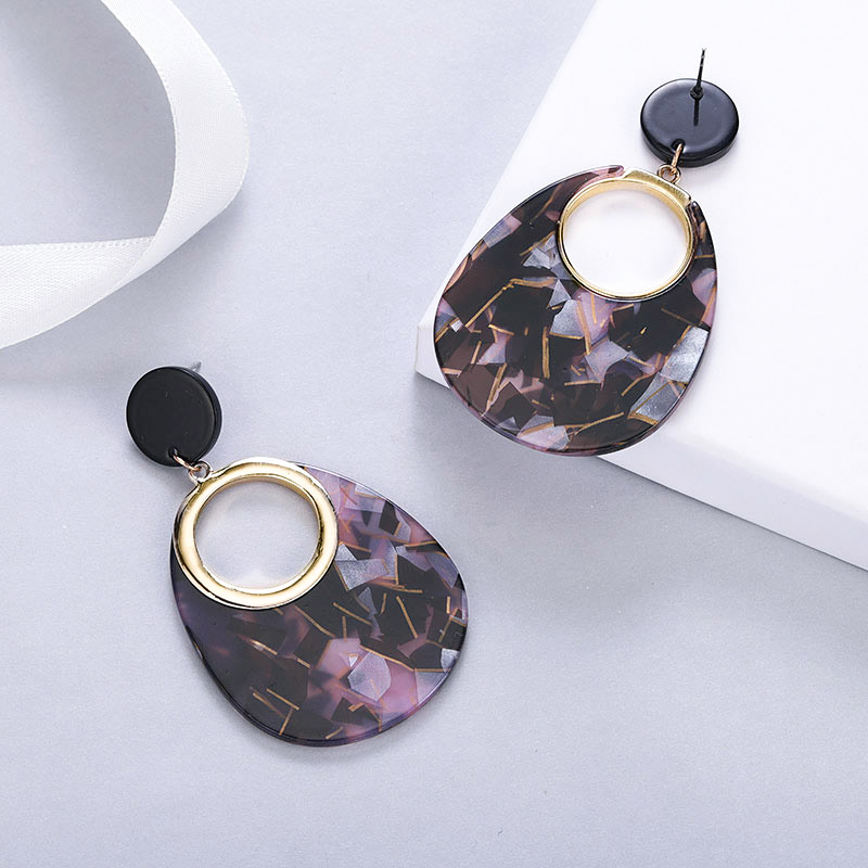 MAIKALE Bohemian Oval Acrylic Earrings Big Round Resin Earrings Acetate Tortoiseshell Drop Earrings for Women Jewelry Boho Gifts