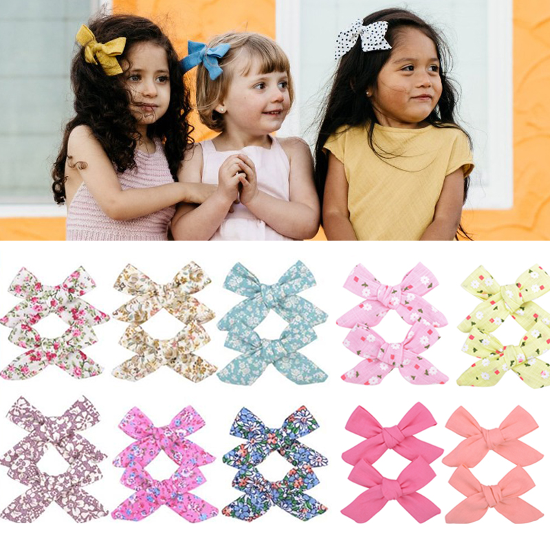2Pcs/set Hairpins 3inch Boutique Handmade Colorful Solid Ribbon Grosgrain Hair Bow With Clips For Kids Girls Hair Accessories