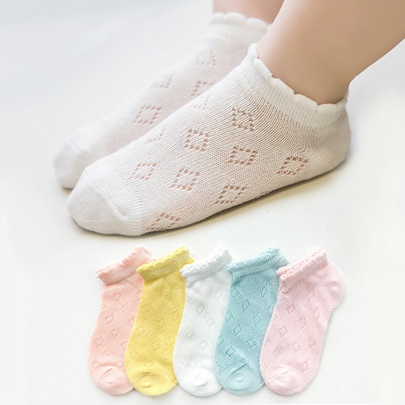 5 Pairs/Lot Children Cotton Socks Boy Girl Baby Infant Ultrathin Fashion Breathable Solid Mesh Socks For Summer 1-12T Teens Kids 2