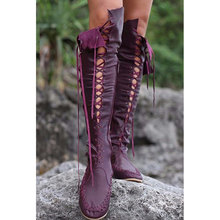 Fashion Hollow Thigh High Boots Women Plus Size 43 Fringe Martin Boots Leather Zip Over The Knee Motorcycle Boots Female(China)