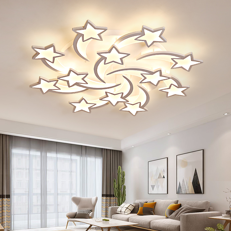 Candelabro LED con estrellas modernas, lámparas de techo, iluminación para sala de estar, dormitorio, cocina, niños con brillo de Control remoto Lámpara led downlight 10w 230V 110V downlight con atenuación luces empotradas en el techo panel led redondo luz inteligente luz descendente wifi