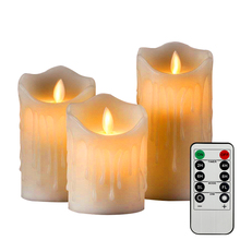 3Pcs Night light Flickering Flameless Pillar LED Candle with Remote Fake Candle Light Easter Candle Wedding Decoration Lighting