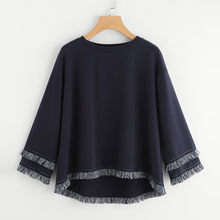 Womens Long Sleeve Tiered Fringe Tassel Sweatshirt Jumper Pullover Tops Blouse Unique design makes you more beautiful 8.7(China)