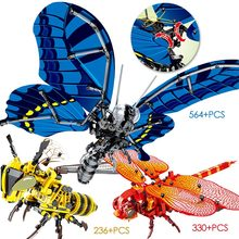 Animals wasp Simulated insect DIY Bee Wasp dragonfly butterfly Building Blocks Compatible legoingly Technic animals Bricks