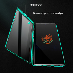 Image 2 - 2019 Metalen Magnetische Adsorptie Glas Case Voor Samsung Galaxy Note 8 9 10 Plus S10 S9 S8 Plus Anti  spy Screen Case Cover Coque