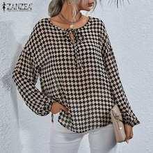 Women Blouse Bandage ZANZEA Vintage Ladies Shirt Top O-Neck Long-Sleeve Blusa Plus-Size