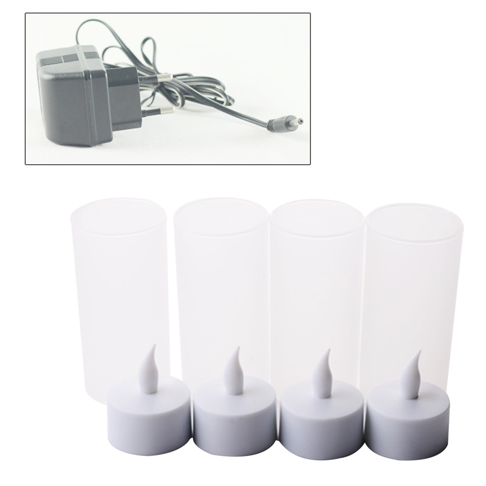 12 Bases Decorative Tealight Electronic Rechargeable Flickering Led Flameless Wedding Home Simulation Candle