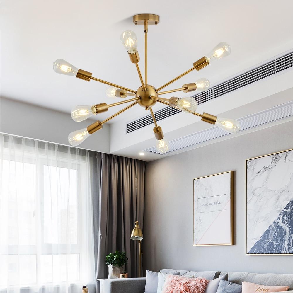 Sputnik żyrandole mosiężne nowoczesne lampy wiszące antyczne złoto przemysłowe oświetlenie schodów oprawy 10 ramion matowy nikiel czarna tubka