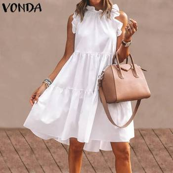 VONDA Summer Dress 2020 Women Sexy Ruffled Neck Sleeveless Tank Mini Dresses Plus Size Bohemian Party Robe Femme Vestidos vonda summer dress 2020 women sexy ruffled neck sleeveless tank mini dresses plus size bohemian party robe femme vestidos