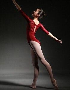 Image 5 - Frauen Ballett Trikot Hohe Qualität Medium Sleeve Spitze Ballett Tanzen Kostüm Erwachsene Ballett Overall Gymnastik Dance Trikots