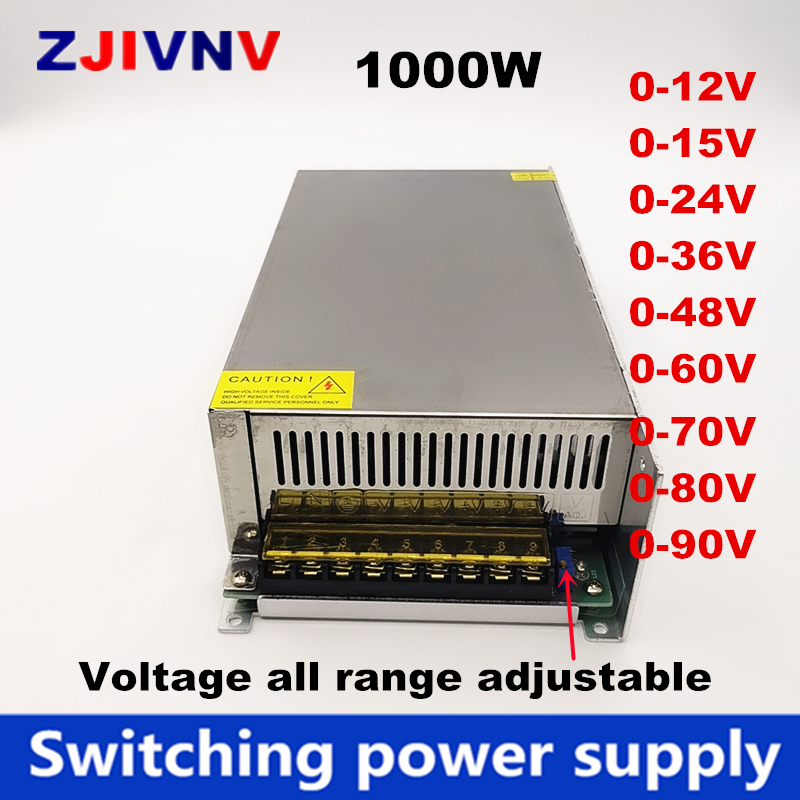 1000W switching <font><b>power</b></font> <font><b>supply</b></font> 0-12V <font><b>24V</b></font> 36V 48V 60v 70v 80v 90v 110v 220v For led display inductry 110/ 220vac to DC adjustable image