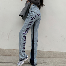 European Spring New Denim Pants Back Letters Embroidery Thin Loose High-waisted Jeans Straight Pants Women Fashion Streetwear