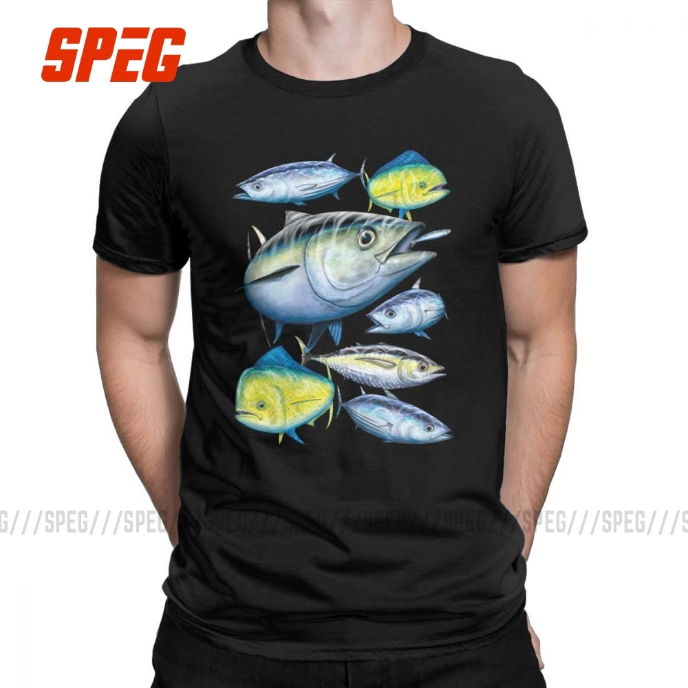 Tuna And Mahi Mahi T Shirts Men Marine Art Gamefish Fishing Summer Clothes Short Sleeve Unique T-Shirt O Neck Cotton Tees