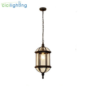Retro black outdoor hanging lamp waterproof 8W LED luminaria pendant lights balcony residential corridor walkway exterior lamp
