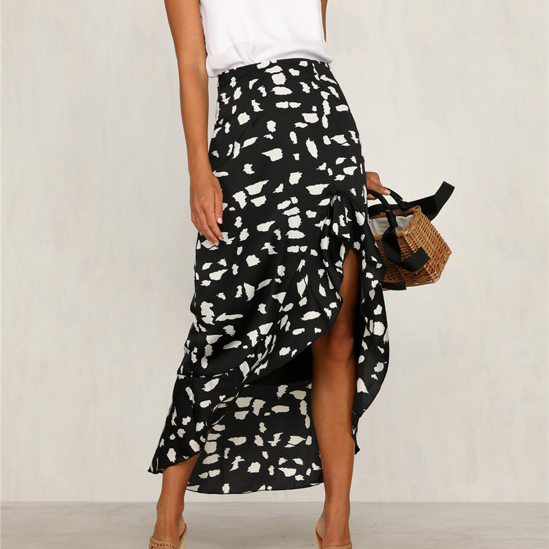 DeRuiLaDy 2020 Women Summer Beach Casual Maxi Skirt Boho Floral Print Lace Up Long Skirts Female Skirt
