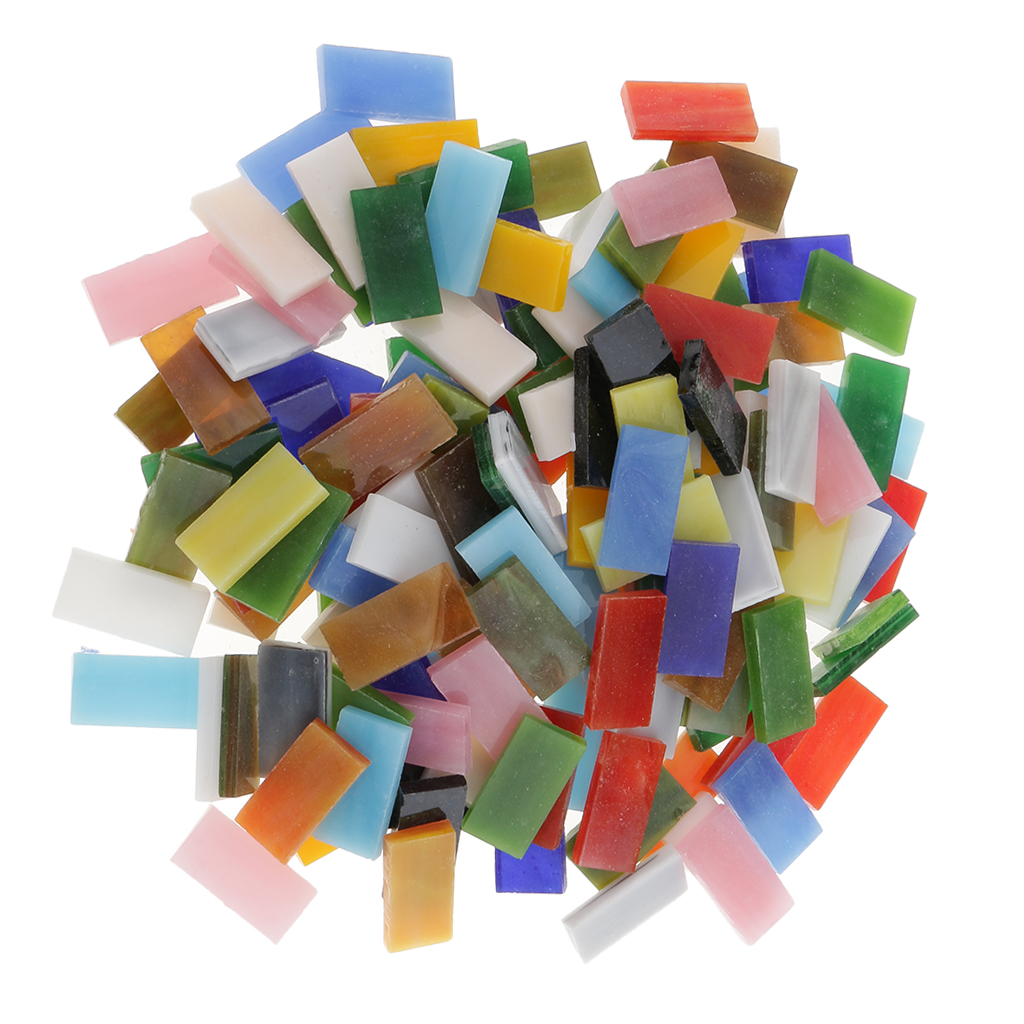 150 Pieces Rectangle Shape Assorted Colors Glass Pieces Mosaic Tiles Tessera for Arts DIY Craft 10x20mm