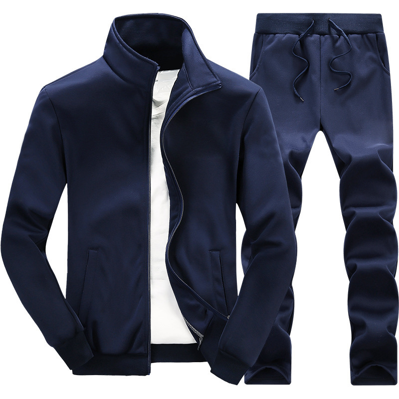 Autumn And Winter New Style MEN'S Coat Trousers Two-Piece Set Solid Color Sports Jackets Casual Loose-Fit Trousers Sports Two-Pi