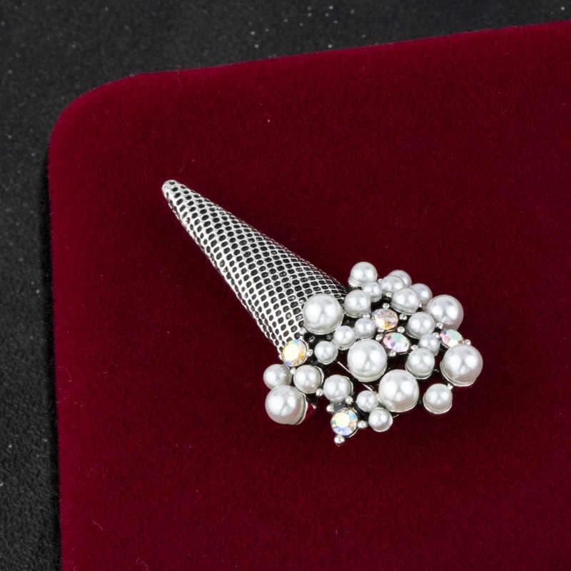 Korea Crystal Bros Kerah Pin Pria Perapi Lencana Syal Gesper Pakaian Retro Bros Perhiasan Mewah untuk Wanita Aksesoris