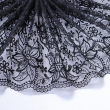 1 Meter 25 cm Width Black Embroidered Lace Trim Mesh For Bra Curtain Decoration Lace Fabric Tulle Sewing Lace Applique Trimmings scallop trim embroidered lace overlay bra
