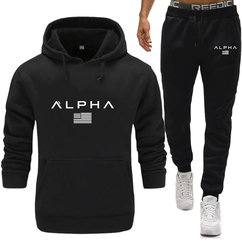 Men's Sportswear Sets 2020 Autumn Winter Hooded Thick Male Casual Tracksuit Men 2 Piece Sweatshirt + Sweatpants Set